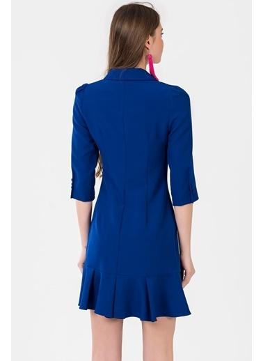 İroni Volanlı Blazer Elbise Saks